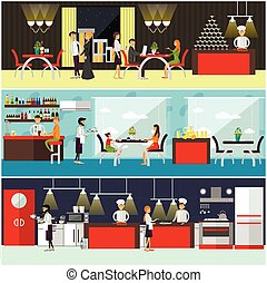 Vector set of banners with restaurant interiors. People having lunch in cafe. Kitchen, dining