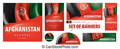 Vector set of banners with the national flag of the Afghanistan.