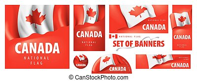 Vector set of banners with the national flag of the Canada