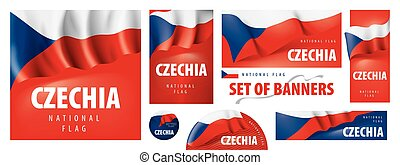 Vector set of banners with the national flag of the Czechia.