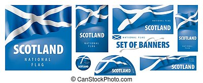 Vector set of banners with the national flag of the Scotland
