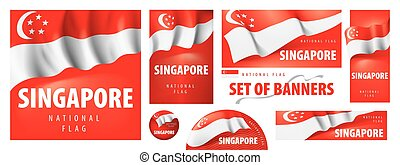 Vector set of banners with the national flag of the Singapore
