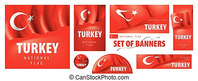 Vector set of banners with the national flag of the Turkey