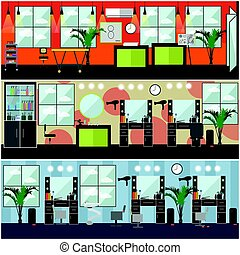 Vector set of barbershop, hair salon, tattoo studio interior posters