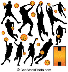 basketball players - vector set of basketball players