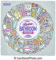 Vector set of Bathroom cartoon doodle objects - Colorful...