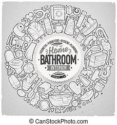 Vector set of Bathroom cartoon doodle objects - Line art...