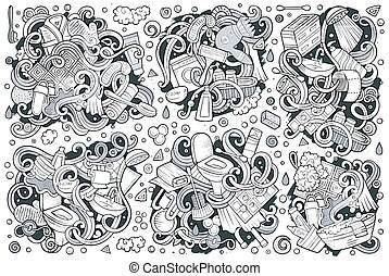 Vector set of Bathroom doodles designs - Vector hand drawn...