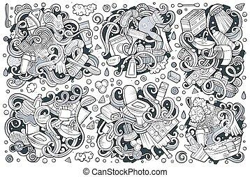 Vector set of Bathroom doodles designs - Vector hand drawn...
