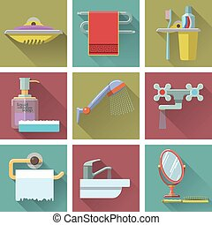 Vector set of bathroom icons in flat style