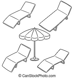 vector set of beach bed