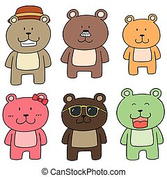 vector set of bear family