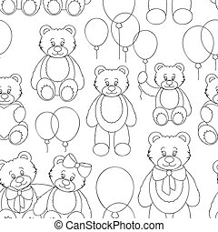 Vector Set of bear icon pattern