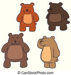 vector set of bear