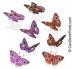 Vector set of beautiful butterflies in flight for your design