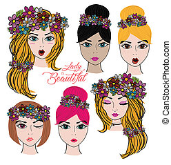 vector set of beautiful lady face portrait in different hair style and skin colour isolated