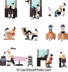 Vector set of beauty salon people isolated on white background. Haircut, manicure and make up atelier.