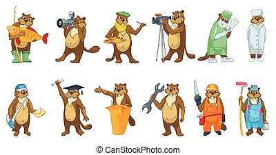 Vector set of beavers profession illustrations. - Set of...