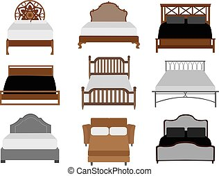 Vector set of beds - Set of beds furniture isolated on white...