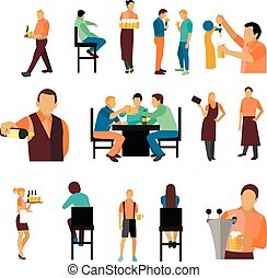 Vector set of beer bar workers and visitor isolated on white background. Restaurant icons, design elements.