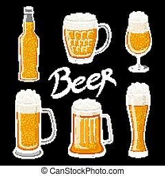 vector Set of beer glass, mug, barrel, bottle, and hop. Craft beer calligraphy design and minimal flat vector illustration of different types of beers. Oktoberfest equipment. Restaurant illustration