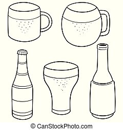 vector set of beer