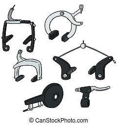 vector set of bicycle brake type