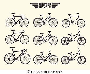 Vector Set of Bicycle.