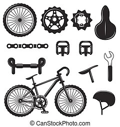Vector set of bicycle parts isolated icons. Black and white bicycle symbols and design elements.