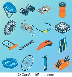Vector set of bicycle parts isolated isometric icons. Bicycle objects and design elements. Bike repair gears. Stars, wheels, helmet, seat