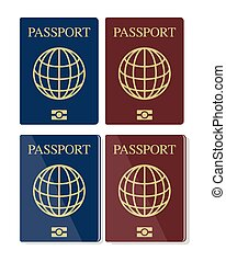 Vector set of biometric passports - Vector set of blue and ...