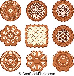 vector set of biscuit chip cookies of different shapes