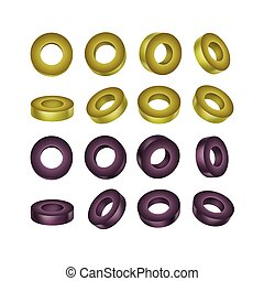 Vector Set of Black and Green Sliced Olives Isolated