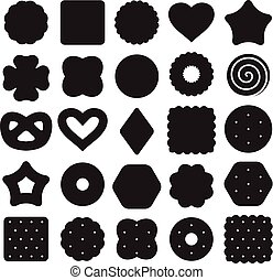 vector set of black and white biscuit cookies and cracker chips