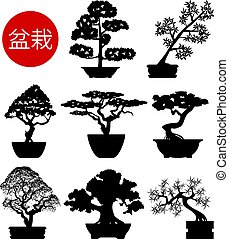 vector set of black and white bonsai trees in pots, ...