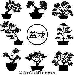 vector set of black and white bonsai trees