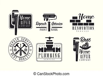 Vector set of black and white logos for plumbing and home renovation services. Monochrome emblems for house repair and paint work company