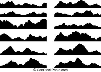 vector set of black and white mountain silhouettes,...