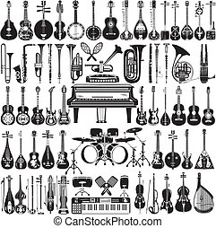 Vector set of black and white musical instruments - Vector...