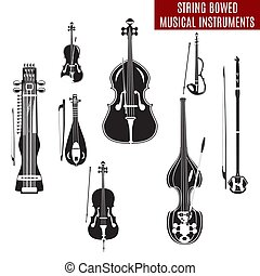Vector set of black and white string bowed musical...