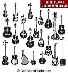 Vector set of black and white string plucked musical...