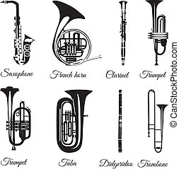 Vector set of black and white wind musical instruments