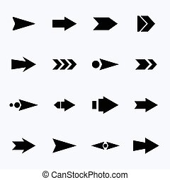 Vector set of black arrows on a light background.