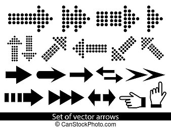 Vector set of black arrows on a white background..