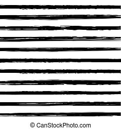 Vector set of black brush stroke
