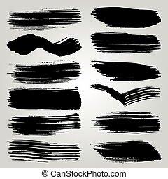 Vector Set of Black Brush Strokes