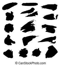 Vector set of Black Brush Strokes Isolated On White Background.