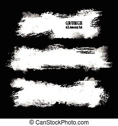 Vector set of black brush strokes.