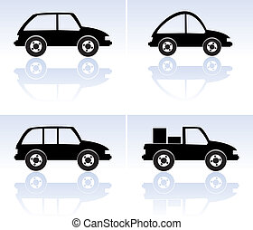 vector set of black cars
