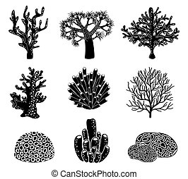 Vector set of black coral silhouettes. Underwater life, reef...